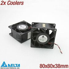 2x DELTA FFB0812EHE SYSTEM COOLER LÜFTER 80x80x38MM 38MM 80MM 3-PIN 12V 5200RPM