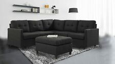 Indoor Modular Sectional Sofa Modern Linen Fabric Couch for Living Room Charcoal