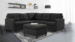 Indoor Modular Sectional Sofa Modern Linen Fabric Couch Livingroom Furniture Set