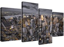 Large Black and White New York Skyline - Canvas Multi 4 Panel - 130cm Wide