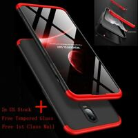 For Oneplus 6T/7 360° Full Cover Shockproof Slim Hybrid Hard Case+Tempered Glass