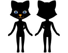 Petworks Odeco-chan & Nikki Hadakanbou no Nikki 007 bk Black Cat Nude Doll