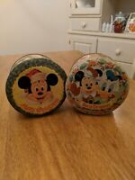 Lot Of 2 Disney Mickey Mouse, Donald Duck, Goofy Tin Cans With Lids Vintage set