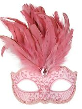Pale Pink Glitter Face Eye Mask with Feathers Fancy Dress Venetian Masquerade