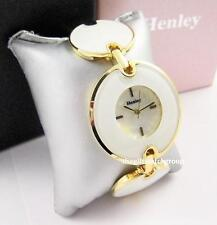Henley Ladies White Bracelet Analogue Watch Round Glass Links Gold Tone Rims