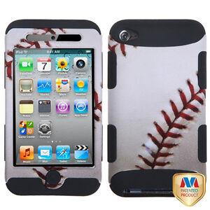 iPod Touch 4th Gen White Baseball MLB Hard&Soft Rubber Armor Impact Hybrid Case