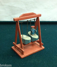 Dollhouse Miniature Wood Swing Set w/Boats Antique Furniture ~Germany