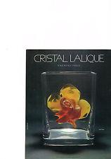 PUBLICITE  1975    LALIQUE CRISTAL     vase ROSE