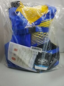 Fit Youth Life Jacket/Personal Flotation Device 50-90 lb Blue Yellow New