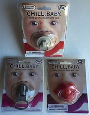CHILL, BABY Zip it!, Plug, Lips Pacifiers Lot of 3 by Fred