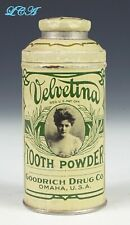 Antique GOODRICH DRUG Co Velvetina TOOTH POWDER tin OMAHA NEBRASKA w/pic GIRL