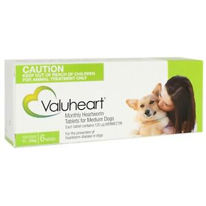 Heartworm Pills for Medium Dogs X6 VALUHEART Tablets 23lbs - 44lbs Heart Worm