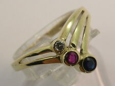 9ct Solid Yellow Gold, Diamond, Ruby & Sapphire V Wishbone Love Ring size N½