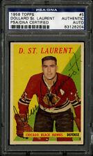 1958-59 1958 TOPPS HOCKEY~#5~DOLLARD ST. LAURENT~PSA/DNA AUTOGRAPHED SIGNED