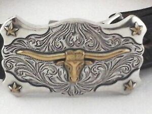 TONY LAMA Texas Longhorn Belt Black Tooled Leather Western Buckle USA Youth *