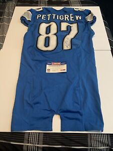 Brandon Pettigrew 2012 Detroit Lions Auto Game Used Jersey PSA/DNA Nfl Auctions