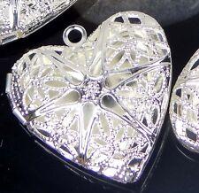 5 Silver Plated Filigree Hollow Locket Heart Pendants 26mm