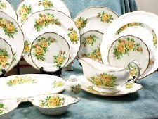 Vintage Royal Albert Yellow Tea Rose Bone China Set for 8 Platter Bowl gold