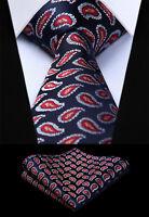 Woven Men Tie Red Blue Paisley Necktie Handkerchief Set#TP603B8S