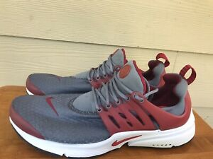 Nike Air Presto Essential Cool Grey Gym Red 848187-008 Men's Running Shoes Sz 10