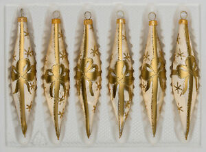 6 tlg. Glas-Zapfen Set in Ice Champagner Goldene Schleife