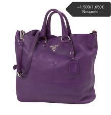 Prada Vitello Daino Shopper shopping bag Leder lila Tasche Schultertasche Luxus