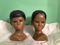 Set Of 2 1960s Vintage Chalkware Marwal Polynesian Bust Set