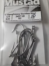 """10pcs MUSTAD fly tying hooks """" STAINLESS STEEL """"  # 34007-SS SIZE: 1/0"""