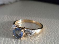 18K PARAIBA TOURMALINE & DIAMOND GOLD RING VERY RARE BEAUTIFUL BLUE COLOUR RARE*