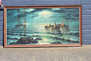 Vintage huge print Seascape boats Maritime ships  mid century wooden frame