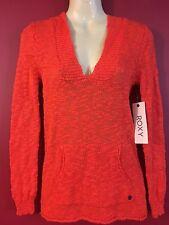 ROXY Women's Orange Knit Warm Heart Hoodie Sweater - Size XS - NWT $59.50