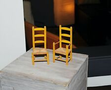 Vintage Doll Chairs High Back Wood w/ Woven Seat