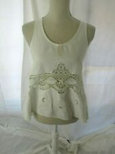 """Burning Torch White """"Tablecloth"""" Sleevelss Tunic Top Size P"""