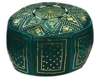 Pouf Moroccan Hassock Pooff Leather Pouff Ottoman Footstool Medium Green