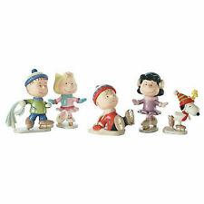 Lenox Peanuts Ice Skating Party Charlie Brown Snoopy 5pc Figurine Set
