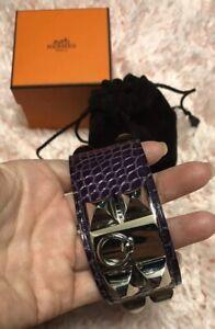 HERMES Bracelet Collier de Chien Cuff Purple Alligator/Box/Pouch/Cite
