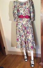 Vintage Lanz Originals NY Late 70s-80s Mauve Pastel Florals PRARIE TEA Dress