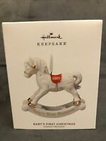 Hallmark 2019 Baby's First 1st Christmas Porcelain Rocking Horse Ornament  NIB