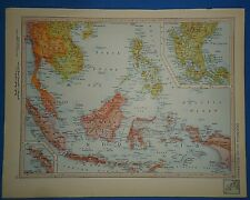Vintage Circa 1952 Indonesia - Indochina Map Old Original Atlas Map - Free S&h