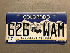 VINTAGE COLORADO LICENSE PLATE COLLECTOR VEHICLE 626-WAM COOL!!