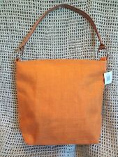 Murval ~ JUTE BURLAP with LEATHER HANDLES WOMEN'S ORANGE HANDBAG PURSE ~ NWT