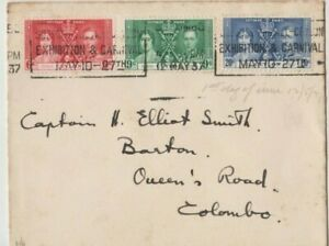 Stamps Ceylon 1937 Coronation set 3 ships cover with flag at back sent locally