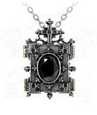 New Alchemy Gothic Orthodox Icon Locket  Pendant Necklace Pewter Crystal  P341