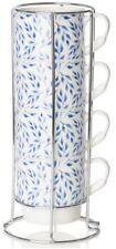 Sabichi Conjunto de 4 Tazas De Porcelana floral en el soporte de metal café de apilamiento de gran tamaño