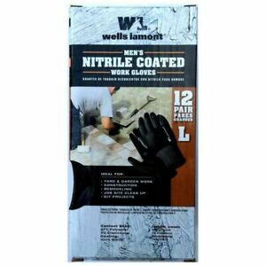 Wells Lamont Men's Nitrile Coated Outdoor Gardening Work Gloves 12 Pack Large