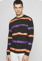 Another Influence Top T Shirt Men's Black Size L & 2XL Stripe Long Sleeve HH86