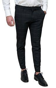 Pantaloni uomo Principe di Galles Nero quadri casual eleganti slim fit