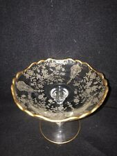 """Cambridge Gold Decorated Elegant Glass Rosepoint Rose Point 6"""" Compote Comport"""