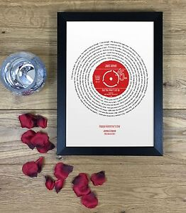 Anniversary Gift for Him - VINYL RECORD PRINT - Any first dance our song lyrics