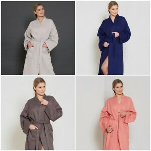 Unisex Lightweight Waffle Bath Robe 100% Combed Cotton Dressing Gown House Coat